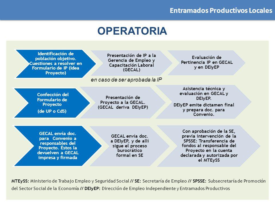 OPERATORIA Identificación de población objetivo. Cuestiones a resolver en Formulario de IP (Idea Proyecto) Presentación de IP a la Gerencia de Empleo