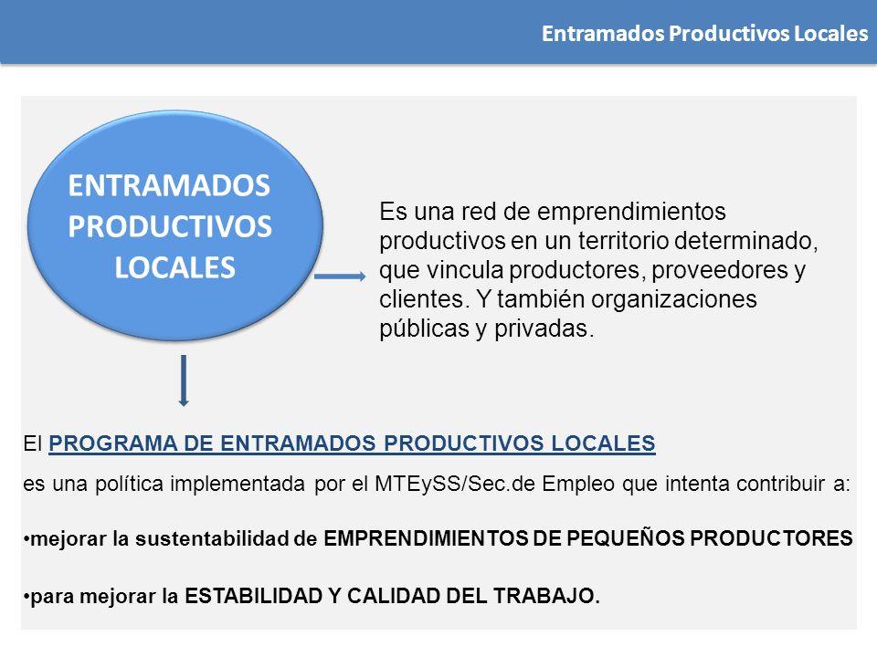 Entramados Productivos Locales Es una red de emprendimientos productivos en un territorio determinado, que vincula productores, proveedores y clientes