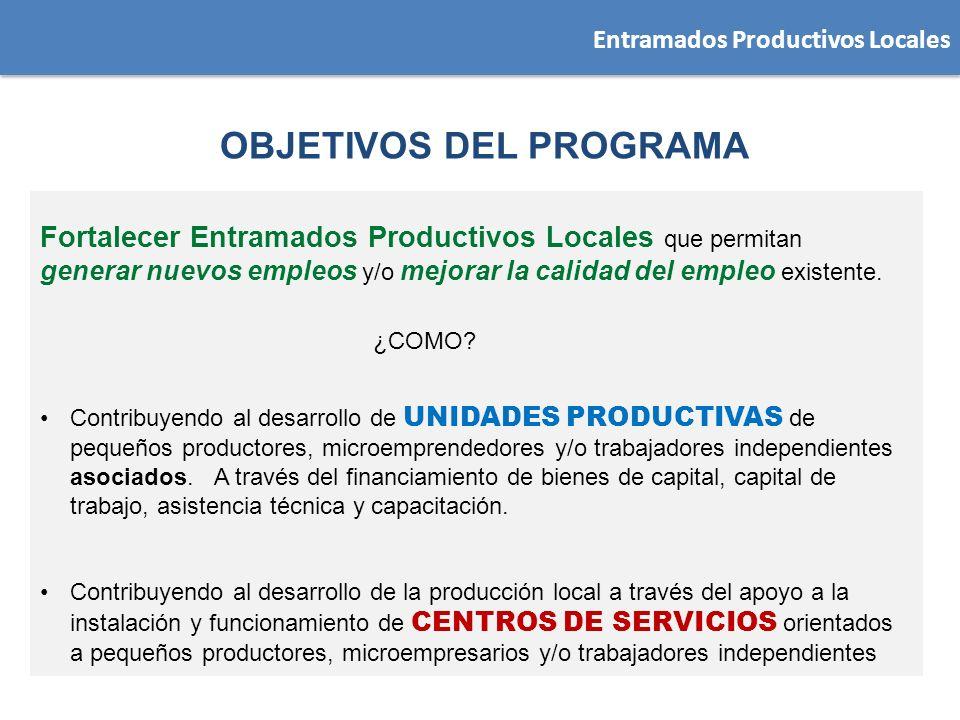 Entramados Productivos Locales Fortalecer Entramados Productivos Locales que permitan generar nuevos empleos y/o mejorar la calidad del empleo existen