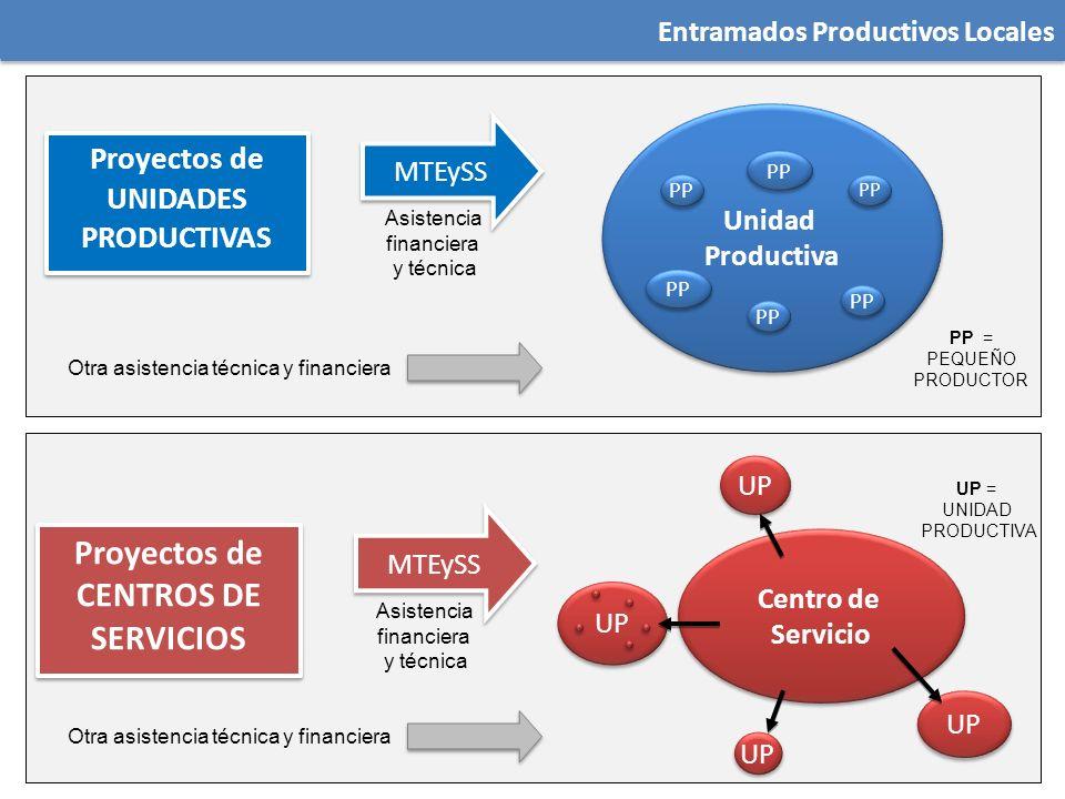 Entramados Productivos Locales Proyectos de UNIDADES PRODUCTIVAS Unidad Productiva Unidad Productiva PP MTEySS PP = PEQUEÑO PRODUCTOR Asistencia finan