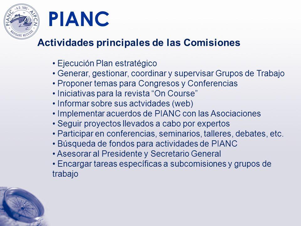 PIANC Actividades específicas de MarCom Puertos y vías navegables marítimos Cooperar con otras Comisiones en temas de interés conjunto (medioambiente, navegación interior, de recreo, etc.) Cooperar con Organizaciones como IMO, IAPH, WODA, etc.