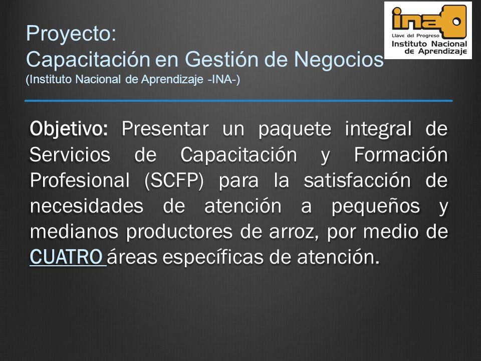 Proyecto: Capacitación en Gestión de Negocios (Instituto Nacional de Aprendizaje -INA-) Objetivo: Presentar un paquete integral de Servicios de Capaci