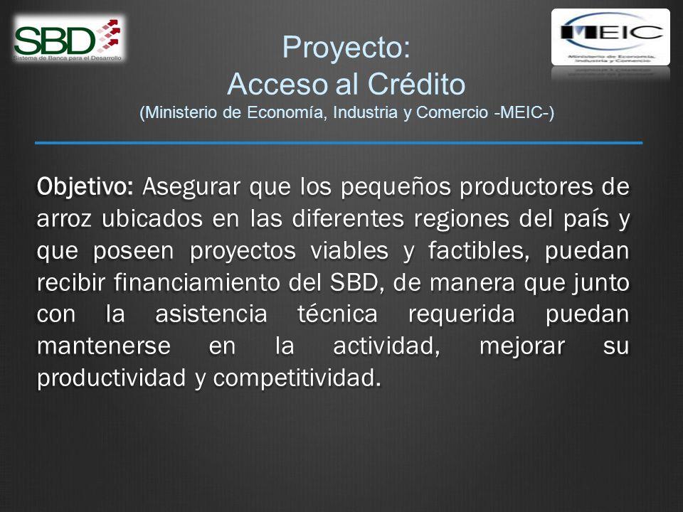 Proyecto: Acceso al Crédito (Ministerio de Economía, Industria y Comercio -MEIC-) Objetivo: Asegurar que los pequeños productores de arroz ubicados en