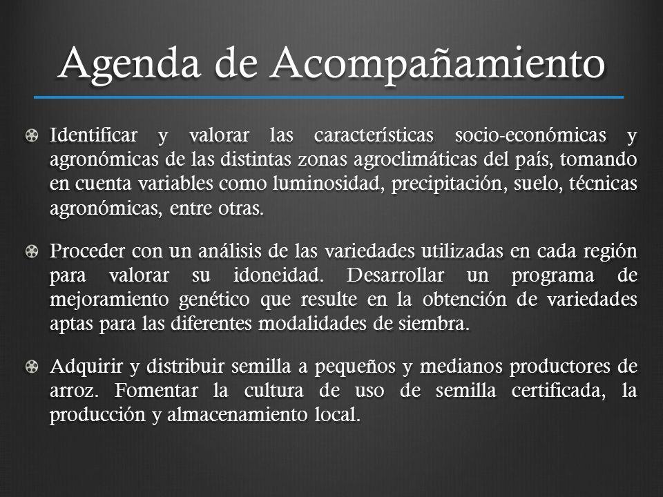 Agenda de Acompañamiento Identificar y valorar las características socio-económicas y agronómicas de las distintas zonas agroclimáticas del país, toma