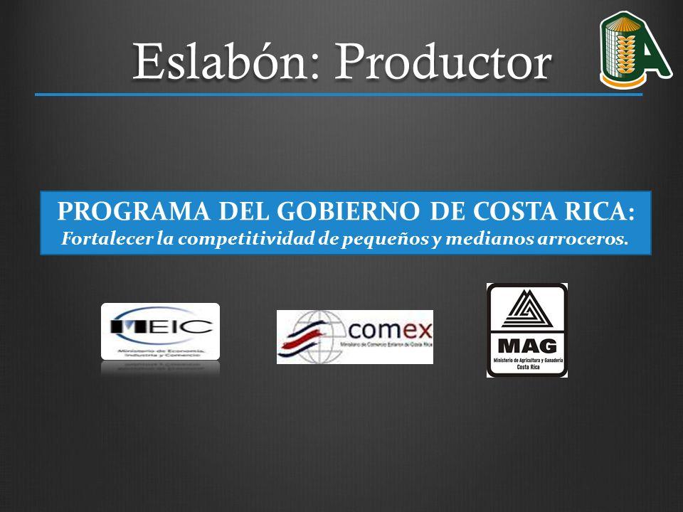 PROGRAMA DEL GOBIERNO DE COSTA RICA: Fortalecer la competitividad de pequeños y medianos arroceros. Eslabón: Productor
