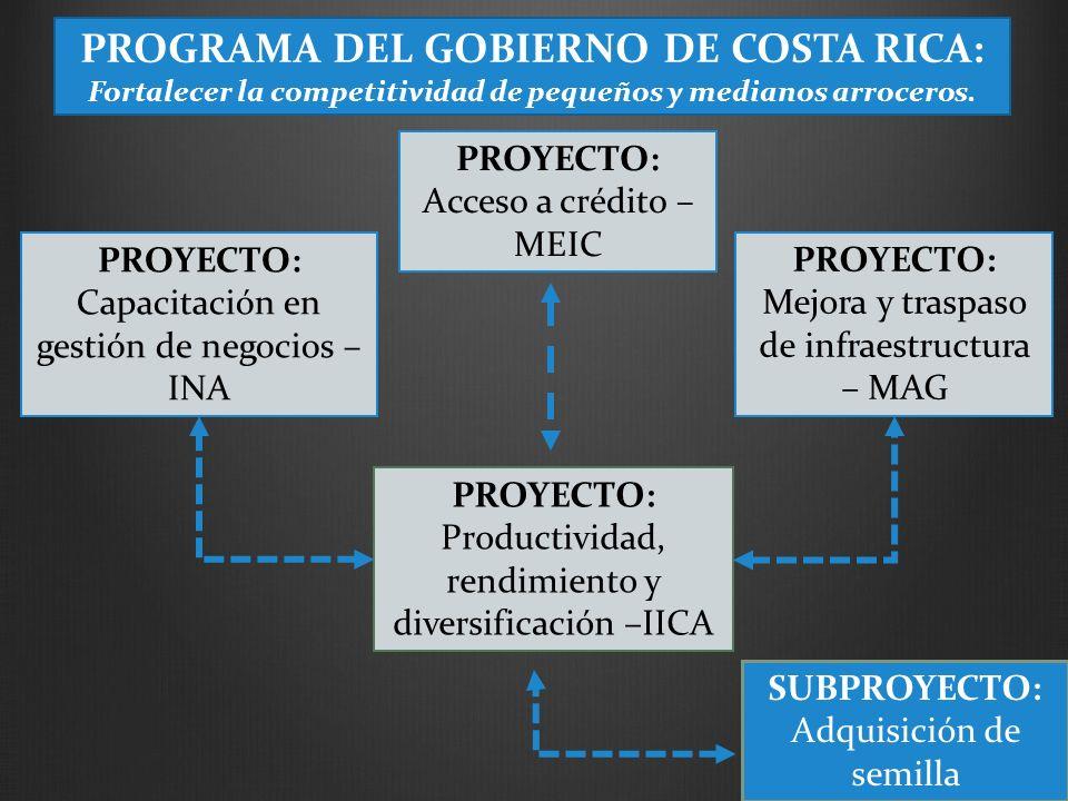 PROYECTO: Capacitación en gestión de negocios – INA PROYECTO: Acceso a crédito – MEIC PROYECTO: Mejora y traspaso de infraestructura – MAG SUBPROYECTO