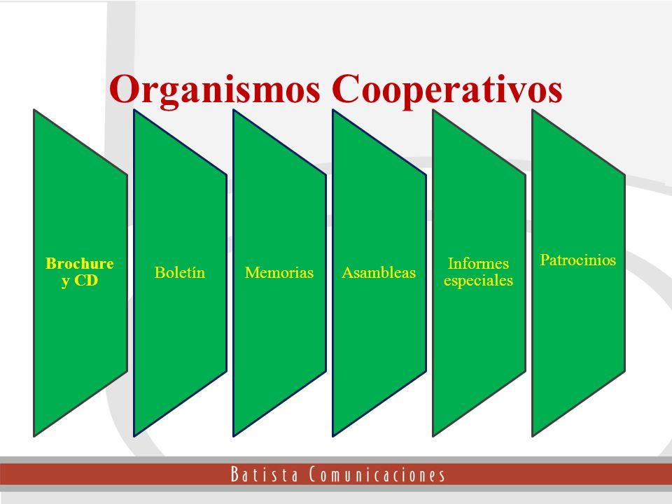 Brochure y CD BoletínMemoriasAsambleas Informes especiales Patrocinios Organismos Cooperativos