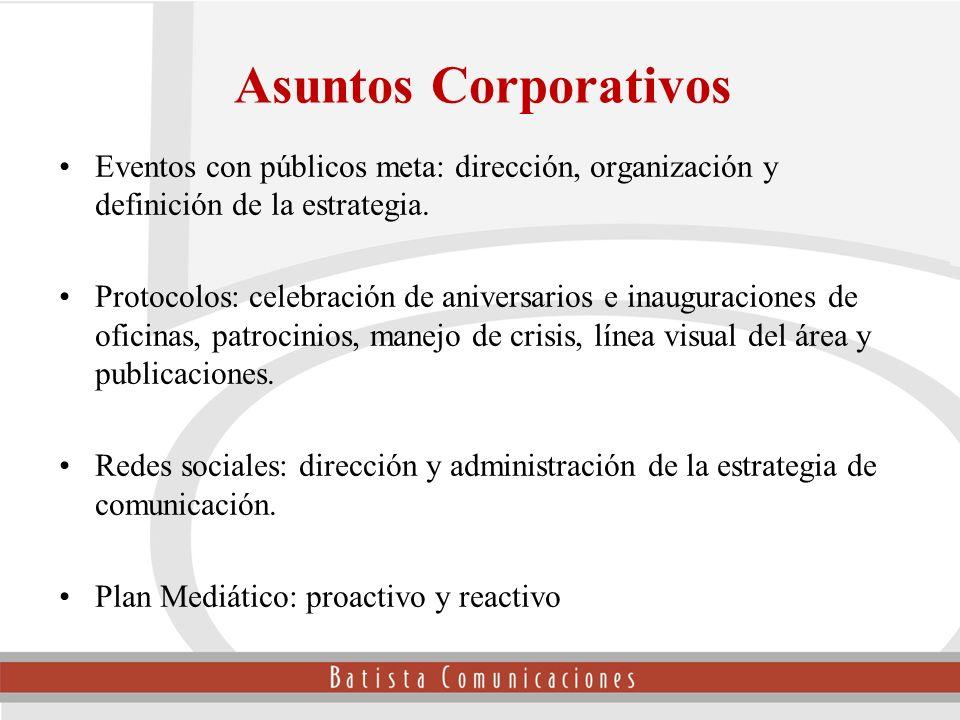 Eventos con públicos meta: dirección, organización y definición de la estrategia. Protocolos: celebración de aniversarios e inauguraciones de oficinas