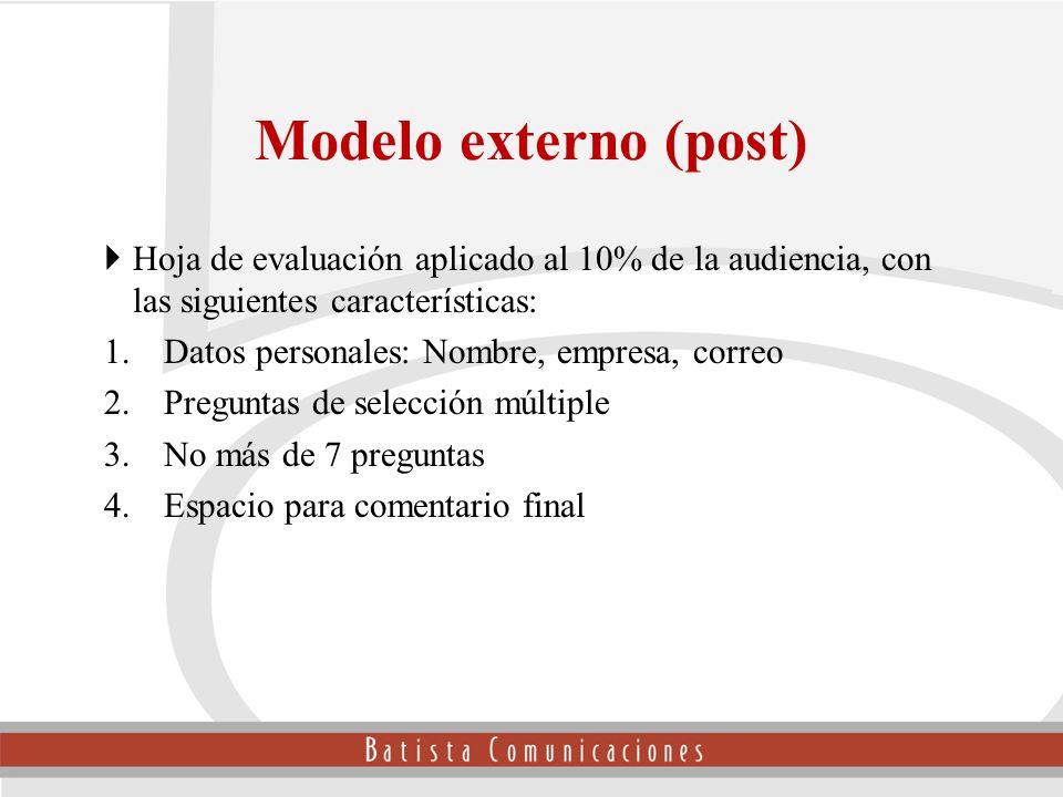 Hoja de evaluación aplicado al 10% de la audiencia, con las siguientes características: 1.Datos personales: Nombre, empresa, correo 2.Preguntas de sel