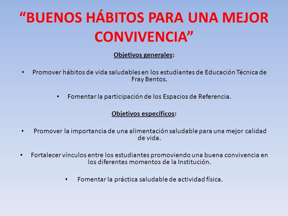 BUENOS HÁBITOS PARA UNA MEJOR CONVIVENCIA Objetivos generales: Promover hábitos de vida saludables en los estudiantes de Educación Técnica de Fray Ben