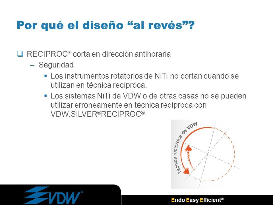 Endo Easy Efficient ® RECIPROC ® corta en dirección antihoraria –Seguridad Los instrumentos rotatorios de NiTi no cortan cuando se utilizan en técnica