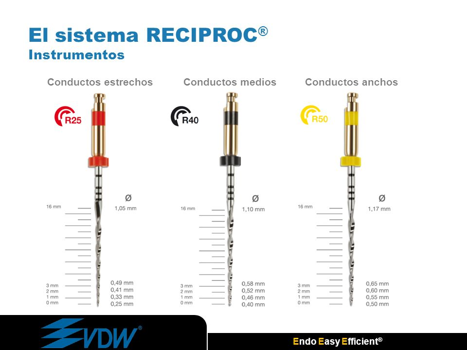 Endo Easy Efficient ® Conductos estrechosConductos mediosConductos anchos El sistema RECIPROC ® Instrumentos