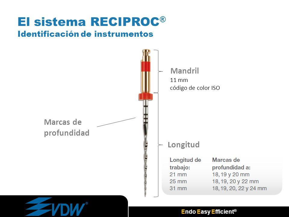 Endo Easy Efficient ® El sistema RECIPROC ® Identificación de instrumentos 11 mm código de color ISO Mandril Marcas de profundidad Longitud