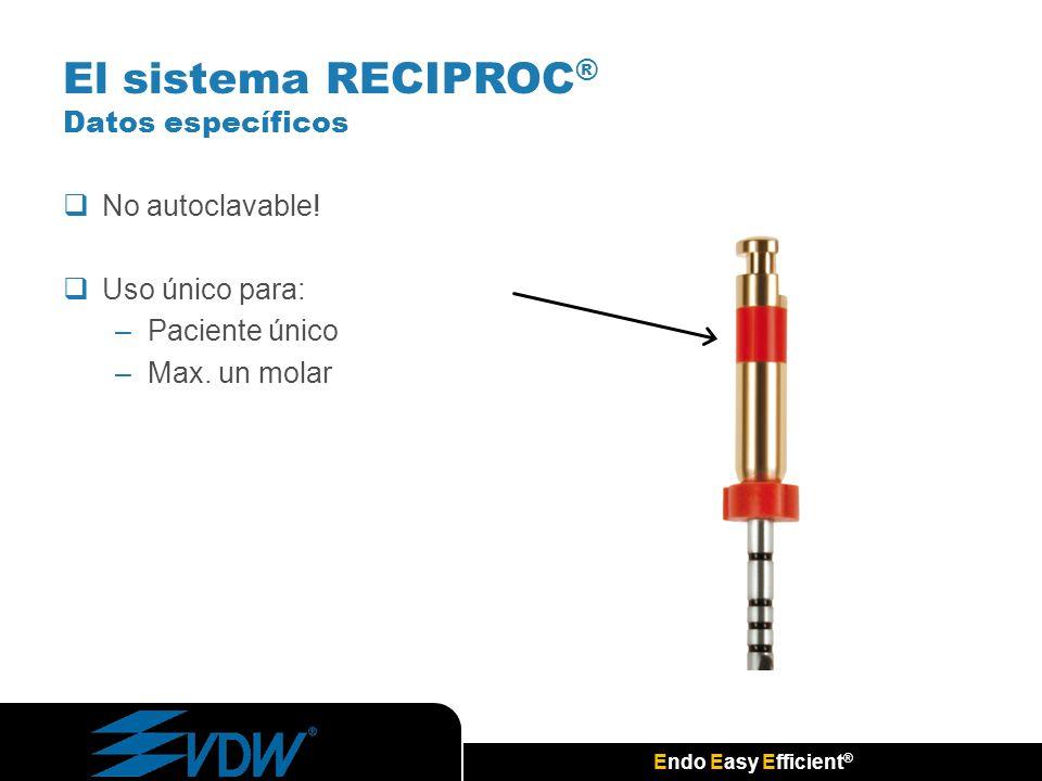 Endo Easy Efficient ® No autoclavable! Uso único para: –Paciente único –Max. un molar El sistema RECIPROC ® Datos específicos