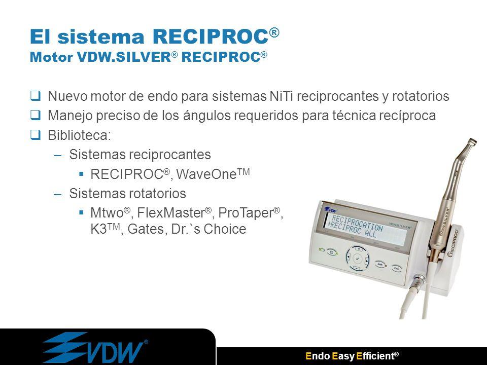 Endo Easy Efficient ® El sistema RECIPROC ® Motor VDW.SILVER ® RECIPROC ® Nuevo motor de endo para sistemas NiTi reciprocantes y rotatorios Manejo pre