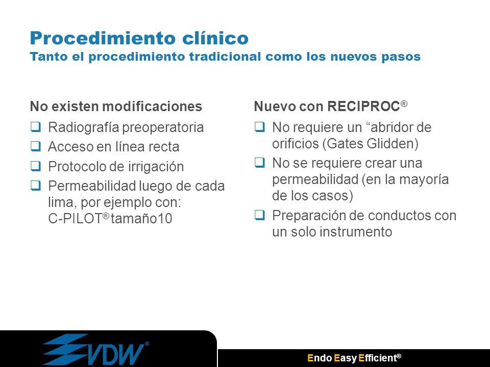 Endo Easy Efficient ® Procedimiento clínico Tanto el procedimiento tradicional como los nuevos pasos No existen modificaciones Radiografía preoperator