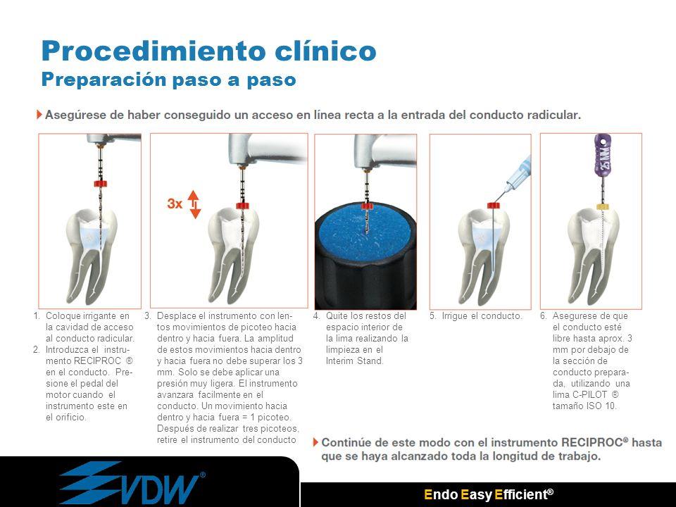Endo Easy Efficient ® Procedimiento clínico Preparación paso a paso 1.Coloque irrigante en la cavidad de acceso al conducto radicular. 2.Introduzca el