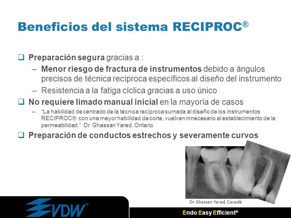 Endo Easy Efficient ® Preparación segura gracias a : –Menor riesgo de fractura de instrumentos debido a ángulos precisos de técnica recíproca específi