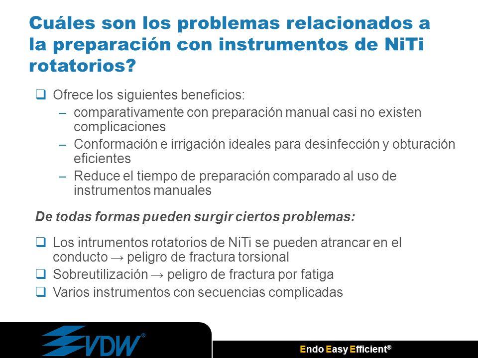 Endo Easy Efficient ® Cuáles son los problemas relacionados a la preparación con instrumentos de NiTi rotatorios? Ofrece los siguientes beneficios: –c