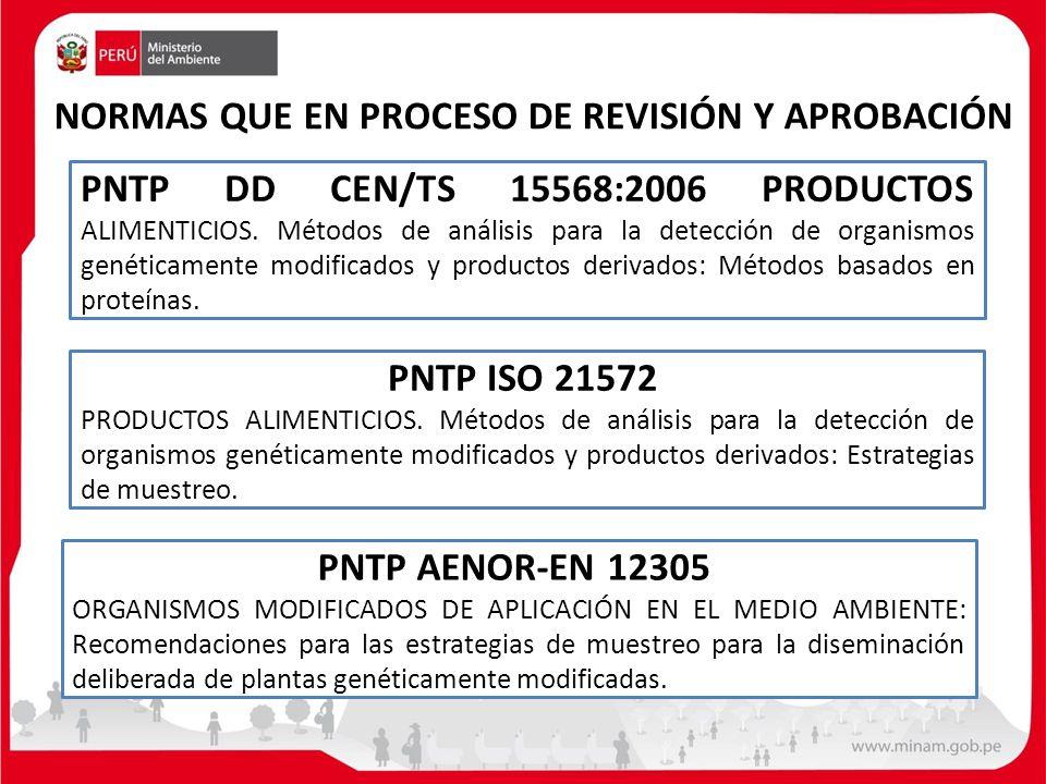 NORMAS QUE EN PROCESO DE REVISIÓN Y APROBACIÓN PNTP AENOR-EN 12305 ORGANISMOS MODIFICADOS DE APLICACIÓN EN EL MEDIO AMBIENTE: Recomendaciones para las