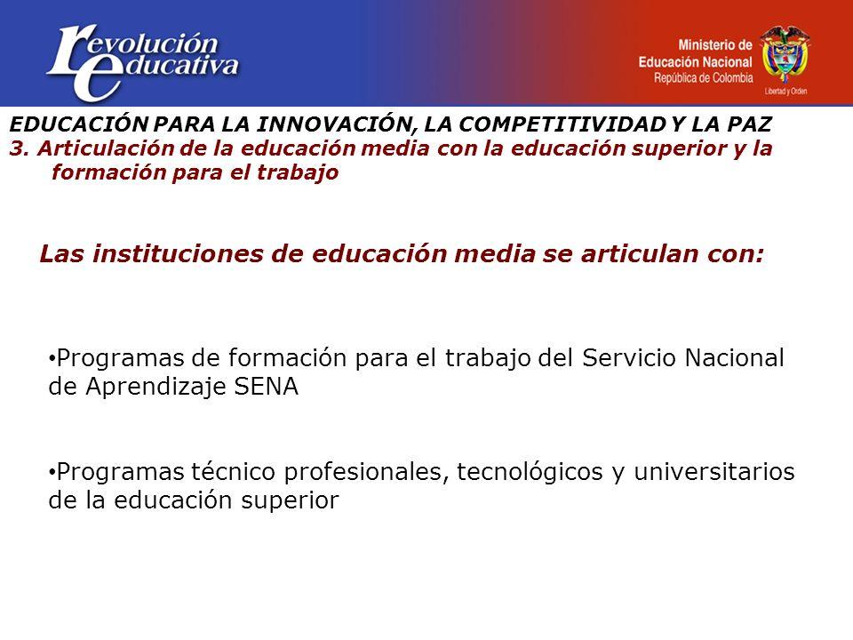 Las instituciones de educación media se articulan con: Programas de formación para el trabajo del Servicio Nacional de Aprendizaje SENA Programas técnico profesionales, tecnológicos y universitarios de la educación superior EDUCACIÓN PARA LA INNOVACIÓN, LA COMPETITIVIDAD Y LA PAZ 3.