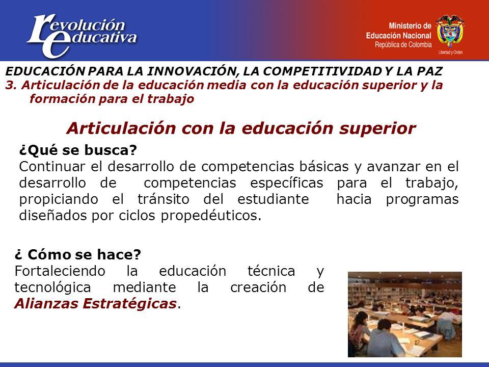 Articulación con la educación superior ¿Qué se busca? Continuar el desarrollo de competencias básicas y avanzar en el desarrollo de competencias espec