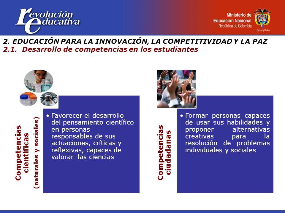 Competencias científicas (naturales y sociales) Favorecer el desarrollo del pensamiento científico en personas responsables de sus actuaciones, crític