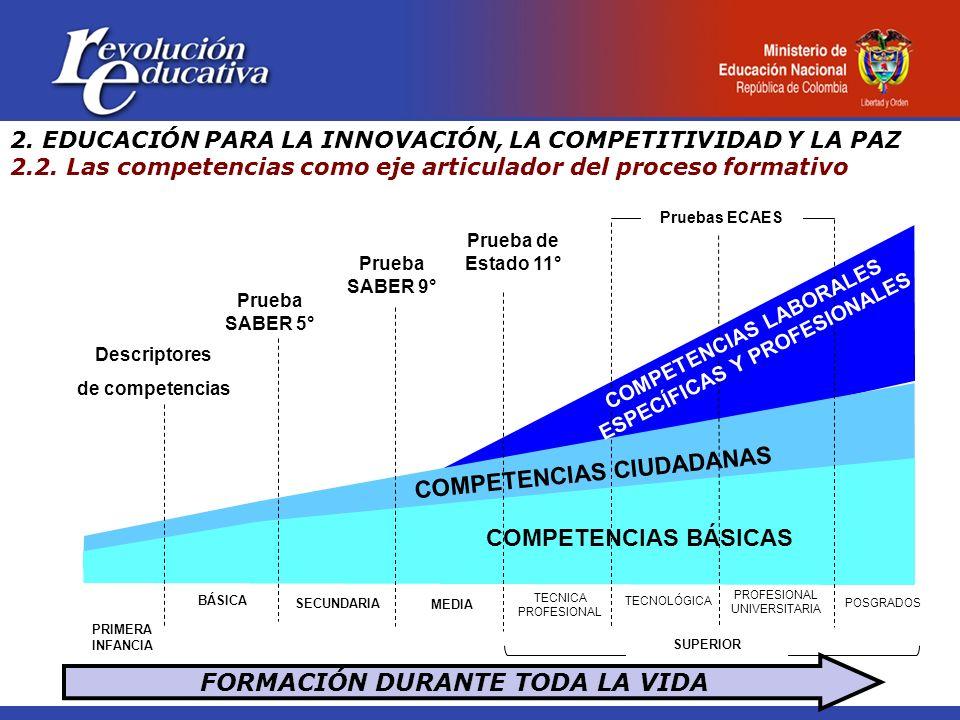 FORMACIÓN DURANTE TODA LA VIDA BÁSICA SECUNDARIA MEDIA TECNICA PROFESIONAL TECNOLÓGICA PROFESIONAL UNIVERSITARIA COMPETENCIAS BÁSICAS Prueba SABER 5° Prueba SABER 9° Prueba de Estado 11° Pruebas ECAES COMPETENCIAS CIUDADANAS SUPERIOR PRIMERA INFANCIA POSGRADOS Descriptores de competencias COMPETENCIAS LABORALES ESPECÍFICAS Y PROFESIONALES 2.
