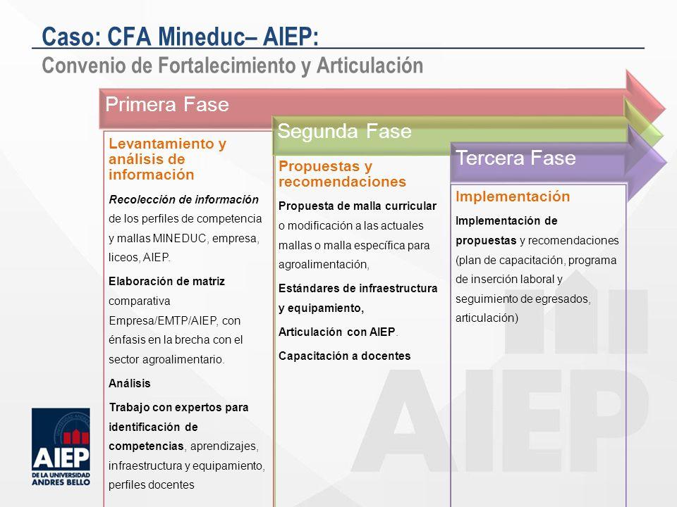 Primera Fase Levantamiento y análisis de información Recolección de información de los perfiles de competencia y mallas MINEDUC, empresa, liceos, AIEP