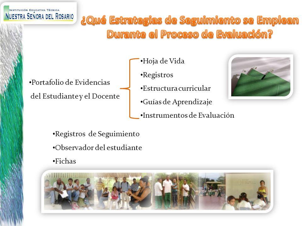 Portafolio de Evidencias del Estudiante y el Docente Hoja de Vida Registros Estructura curricular Guías de Aprendizaje Instrumentos de Evaluación Regi