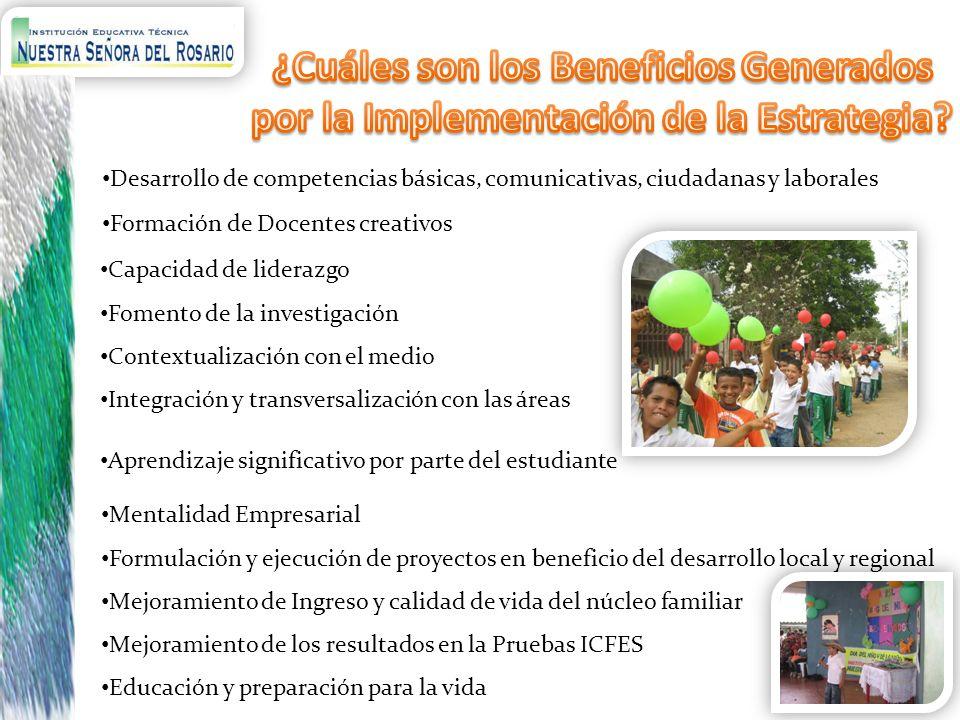 Desarrollo de competencias básicas, comunicativas, ciudadanas y laborales Aprendizaje significativo por parte del estudiante Formación de Docentes cre