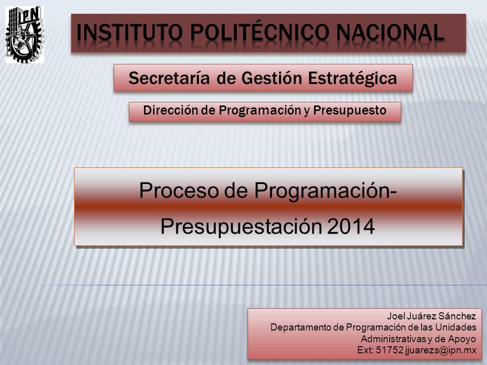 Secretaría de Gestión Estratégica Dirección de Programación y Presupuesto Proceso de Programación- Presupuestación 2014 Joel Juárez Sánchez Departamen