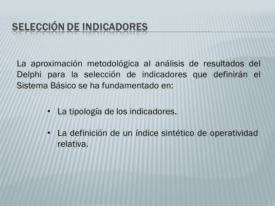 La aproximación metodológica al análisis de resultados del Delphi para la selección de indicadores que definirán el Sistema Básico se ha fundamentado en: La tipología de los indicadores.