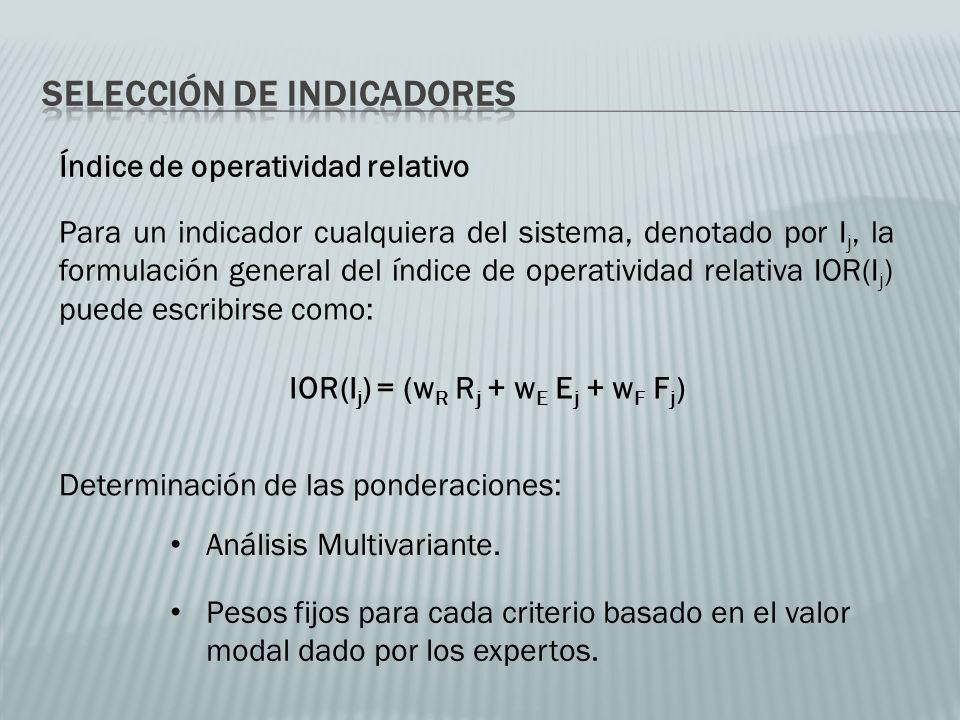 Índice de operatividad relativo IOR(I j ) = (w R R j + w E E j + w F F j ) Para un indicador cualquiera del sistema, denotado por I j, la formulación general del índice de operatividad relativa IOR(I j ) puede escribirse como: Determinación de las ponderaciones: Análisis Multivariante.