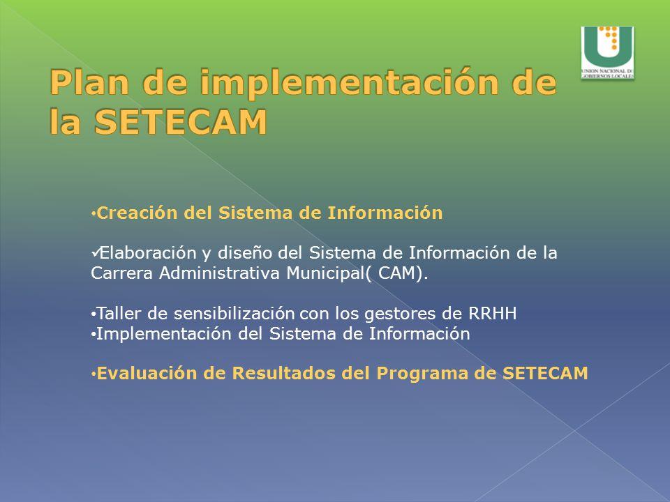 Creación del Sistema de Información Elaboración y diseño del Sistema de Información de la Carrera Administrativa Municipal( CAM). Taller de sensibiliz