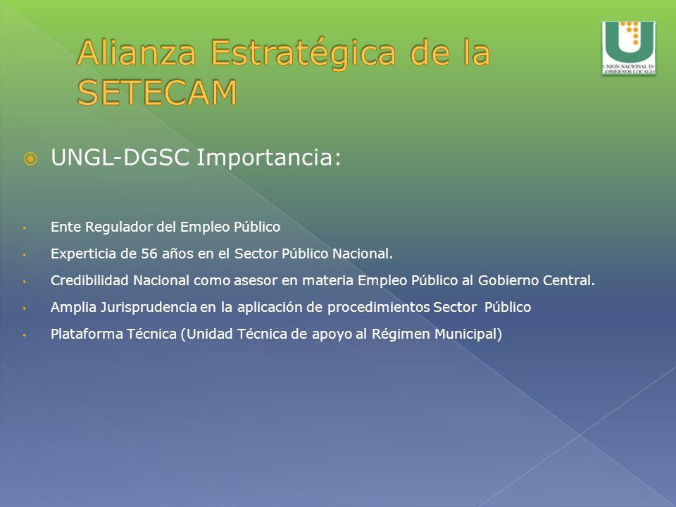UNGL-DGSC Importancia: Ente Regulador del Empleo Público Experticia de 56 años en el Sector Público Nacional. Credibilidad Nacional como asesor en mat