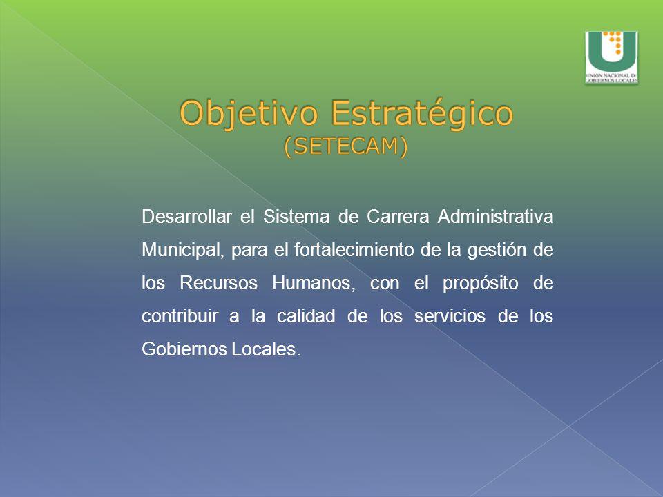 Desarrollar el Sistema de Carrera Administrativa Municipal, para el fortalecimiento de la gestión de los Recursos Humanos, con el propósito de contrib