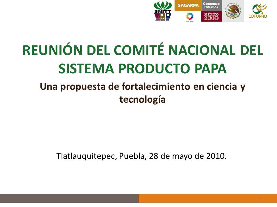 REUNIÓN DEL COMITÉ NACIONAL DEL SISTEMA PRODUCTO PAPA Una propuesta de fortalecimiento en ciencia y tecnología 1 Tlatlauquitepec, Puebla, 28 de mayo de 2010.