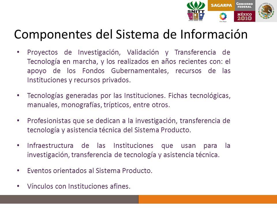Componentes del Sistema de Información Proyectos de Investigación, Validación y Transferencia de Tecnología en marcha, y los realizados en años recientes con: el apoyo de los Fondos Gubernamentales, recursos de las Instituciones y recursos privados.