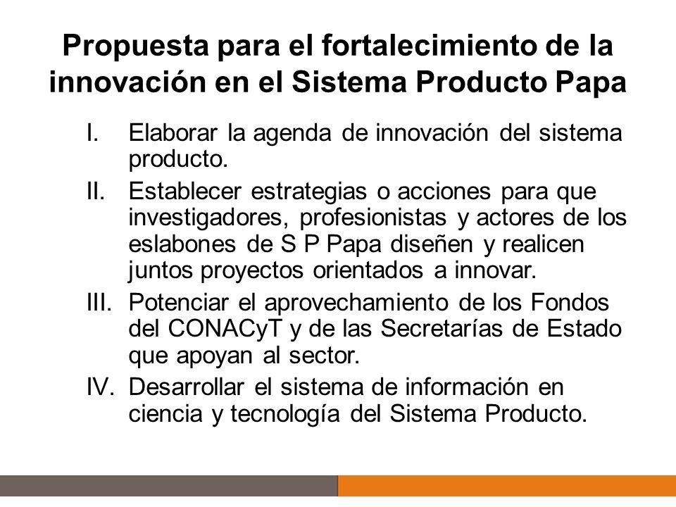 I.Agenda de innovación del sistema producto Permitirá orientar la temática de los proyectos: de investigación, transferencia de tecnología y asistencia técnica hacia las necesidades tecnológicas de mayor relevancia para el Sistema Producto 4