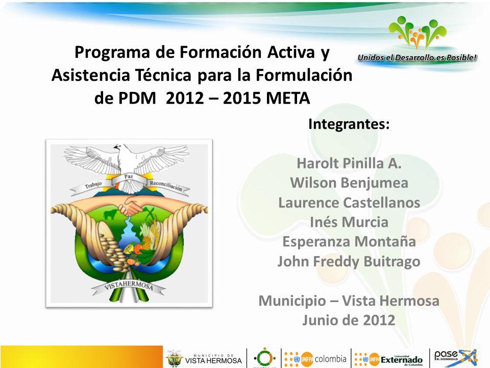 Programa de Formación Activa y Asistencia Técnica para la Formulación de PDM 2012 – 2015 META Integrantes: Harolt Pinilla A.