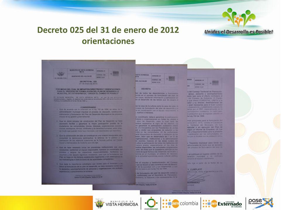 Decreto 025 del 31 de enero de 2012 orientaciones