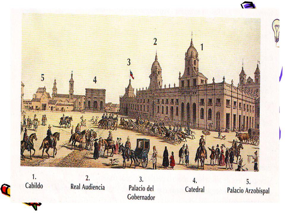 En el centro de la ciudad estaba la Plaza de Armas o Plaza Mayor, (autoridades y templo religioso).En el centro de la ciudad estaba la Plaza de Armas o Plaza Mayor, al rededor estaban los edificios más importantes de la época (autoridades y templo religioso).