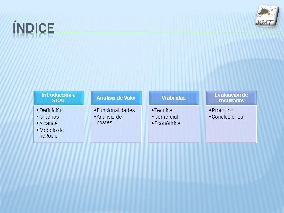 Introducción a SGAT Definición Criterios Alcance Modelo de negocio Análisis de Valor Funcionalidades Análisis de costes Viabilidad Técnica Comercial E
