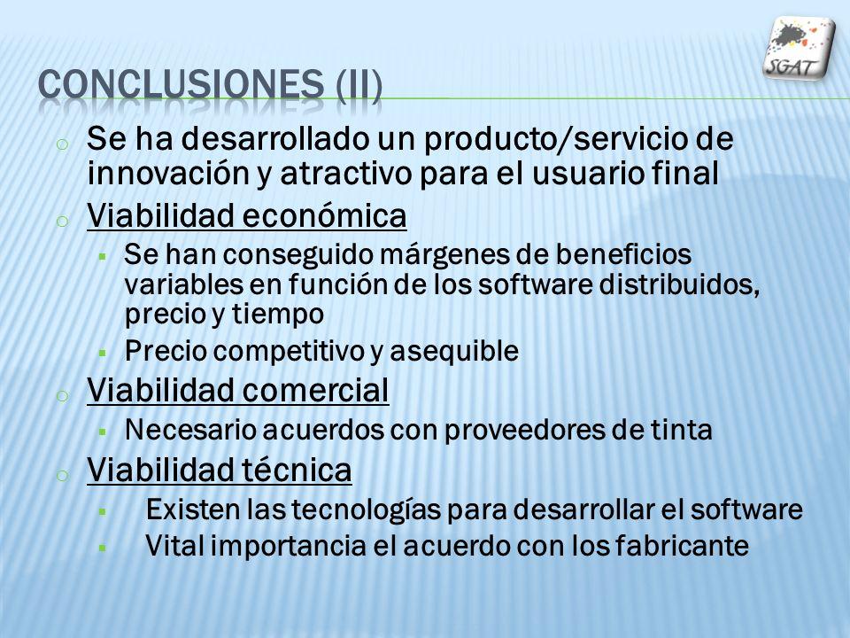 o Se ha desarrollado un producto/servicio de innovación y atractivo para el usuario final o Viabilidad económica Se han conseguido márgenes de benefic