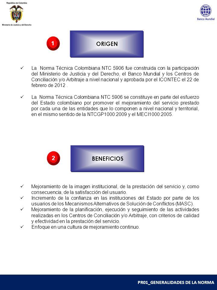 PR01_GENERALIDADES DE LA NORMA La Norma Técnica Colombiana NTC 5906 fue construida con la participación del Ministerio de Justicia y del Derecho, el B