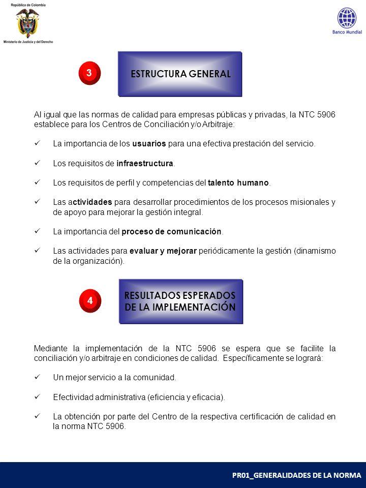 PR01_GENERALIDADES DE LA NORMA Al igual que las normas de calidad para empresas públicas y privadas, la NTC 5906 establece para los Centros de Concili