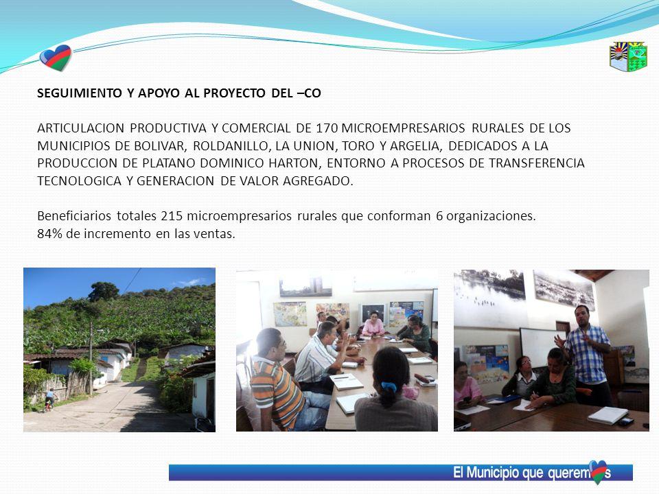 SEGUIMIENTO Y APOYO AL PROYECTO DEL –CO ARTICULACION PRODUCTIVA Y COMERCIAL DE 170 MICROEMPRESARIOS RURALES DE LOS MUNICIPIOS DE BOLIVAR, ROLDANILLO,