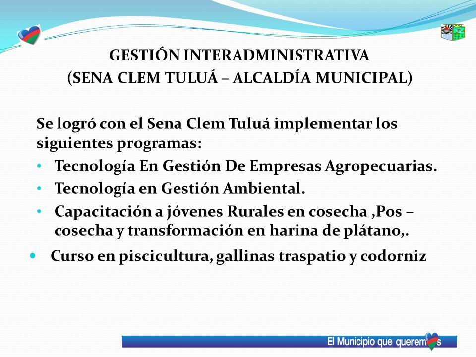 GESTIÓN INTERADMINISTRATIVA (SENA CLEM TULUÁ – ALCALDÍA MUNICIPAL) Se logró con el Sena Clem Tuluá implementar los siguientes programas: Tecnología En