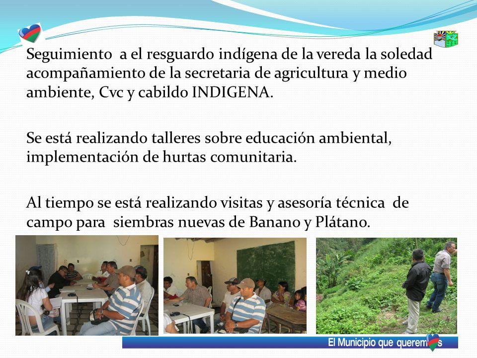 Seguimiento a el resguardo indígena de la vereda la soledad acompañamiento de la secretaria de agricultura y medio ambiente, Cvc y cabildo INDIGENA. S